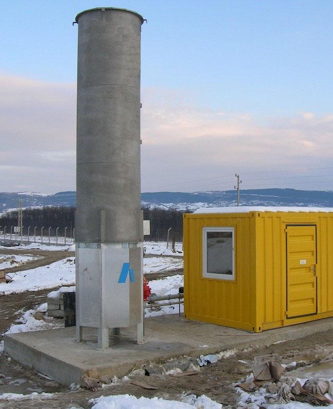 Факел за биогаз в регионалното депо за отпадъци – гр. Монтана