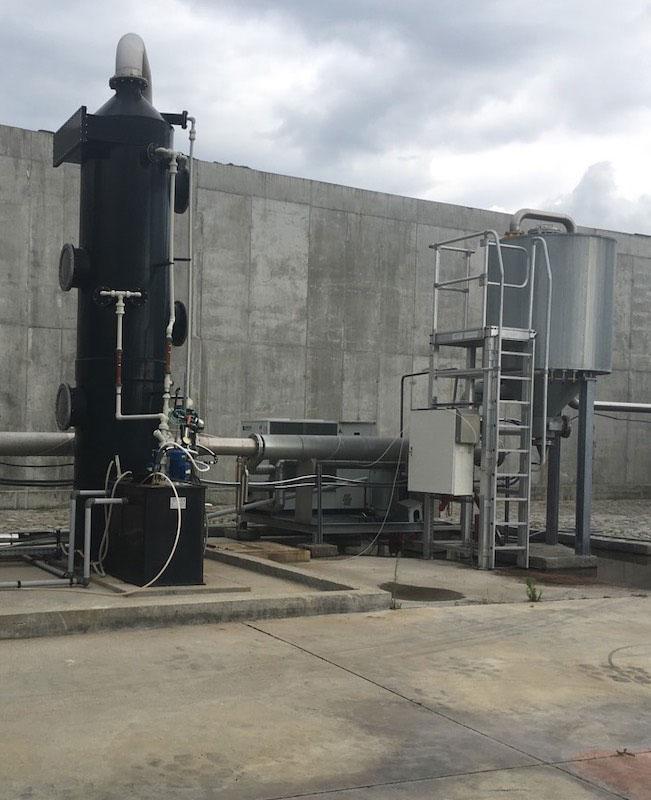 Изсушител и биогаз филтър с активен въглен във фабрика за преработка на пилета